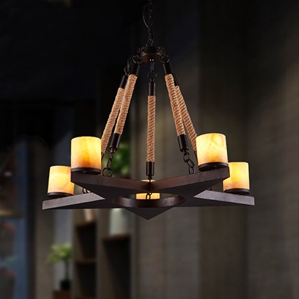 Loft Style Iron Marble Droplight Hemp Rope Vintage Pendant Light Fixtures For Dining Room LED Hanging Lamp Indoor Lighting стоимость