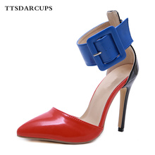 New Autumn Style Europe America High-heeled shoes woman Individual pumps Sandalia Ankle strap buckle Sexy nightclub sandals new europe popular street beat rivet shoes high heeled catwalk sexy rome ankle buckle strap pu heel 12cm woman pumps 6368w