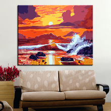 Sunrise Sea Waves of Landscape Picture By Numbers DIY Painting Kits Hand painted On Linen Canvas Home Decorative Unique Gift