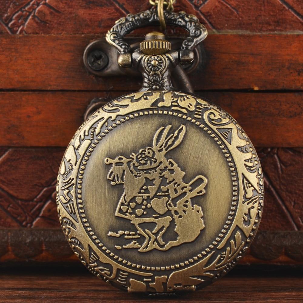 Best Selling Retro Antique Bronze Alice In Wonderland Rabbit Quartz Pocket Watch Vintage Clock With Fob Chain For Children