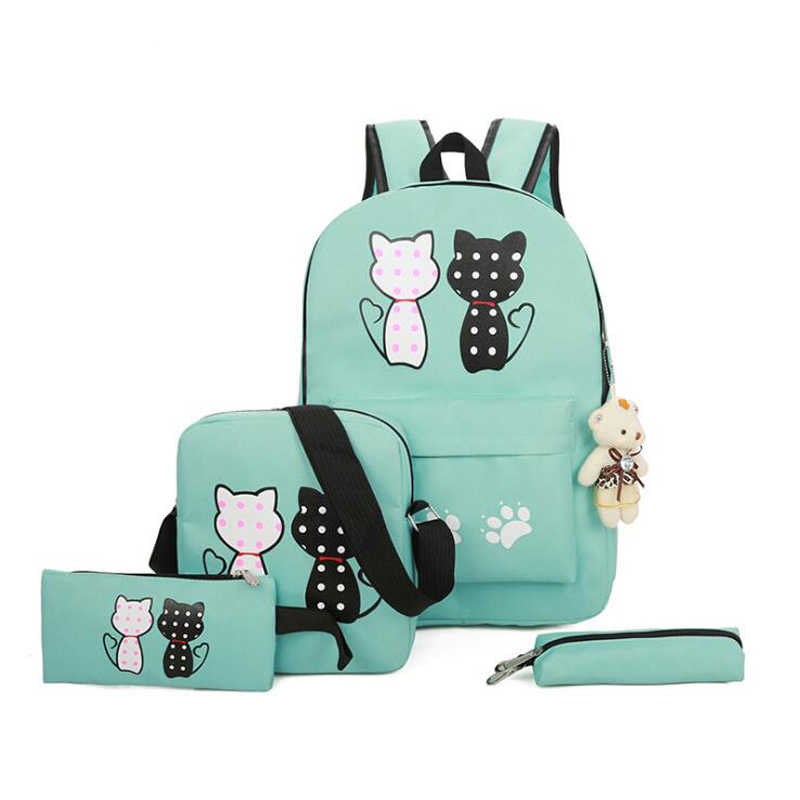 fdc180e671f2 2018 новый зеленый Кот Рюкзаки для подростков школьная сумка для комплект  для девочек 4 зеленый рюкзак