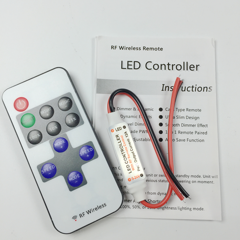 Wireless RF Mini Dimmer Plug n Play LED strip 3528 5050 12V 24V Controller Dim