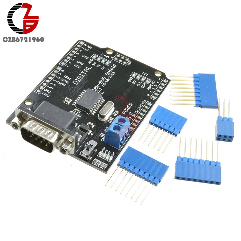 DC 5-12V MCP2515 CAN BUS Shield Board SPI Interface 9 Pins Standard Sub-D Connector Expansion Module For Arduino Seeeduino catalex arduino expansion board clock shield two wire digital module blue black