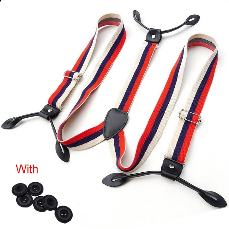 Men Adjustable Button Braces Navy Red Striped Braces 3cm Width Suspenders Braces Adult Belt Strap For Wedding Party BDXJ305