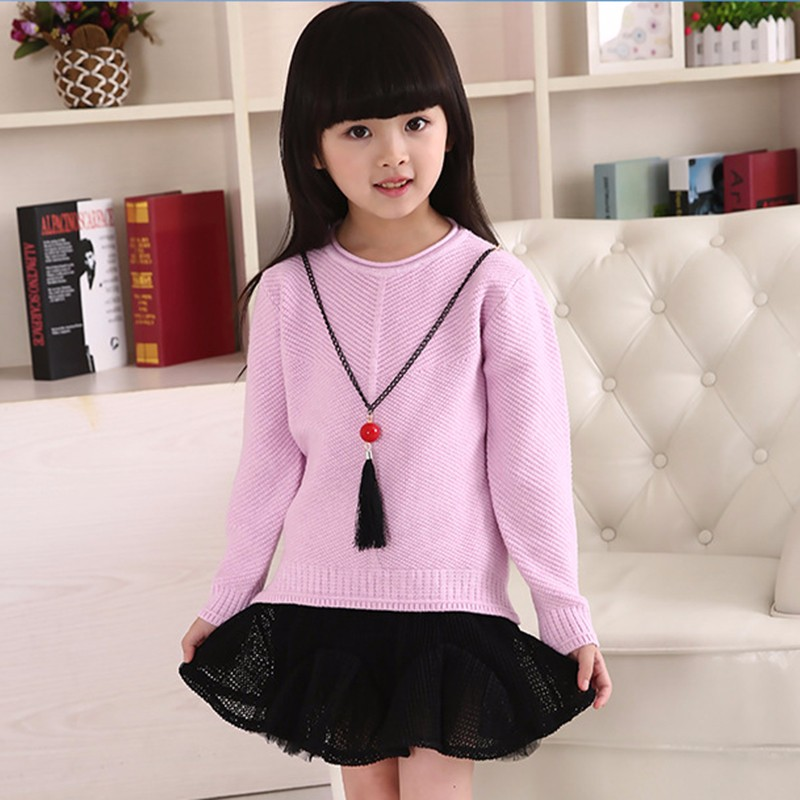 Cotton Girls Sweaters Solid O Neck Top Long Sleeve Clothes Pullover Knit Outerwear Autumn Winter Kids Sweater Children Clothing (1)