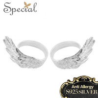 Special Rings 925 Silver Classic Fashion Design Adjustable Angel Wings Valentine S Day Gift Jewelry JZQ2A14