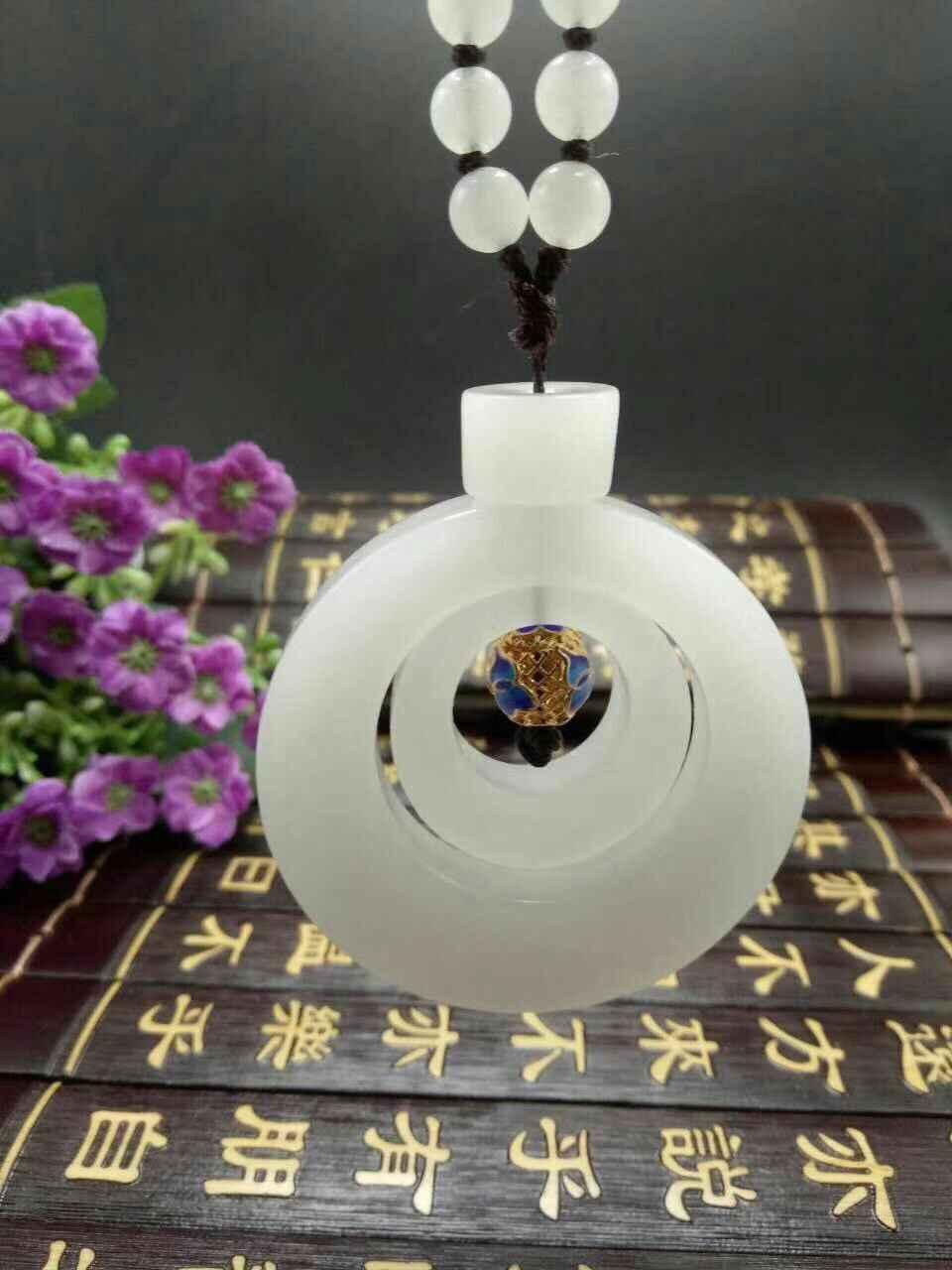 Натуральный красивый нефритовый белый кулон с застежкой на кнопке нефритовый кулон