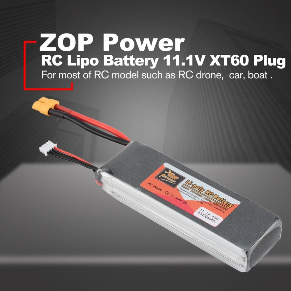 ZOP Power 11 1V 4500mAh 45C 3S 1P Lipo Battery XT60 Plug Rechargeable for RC Racing