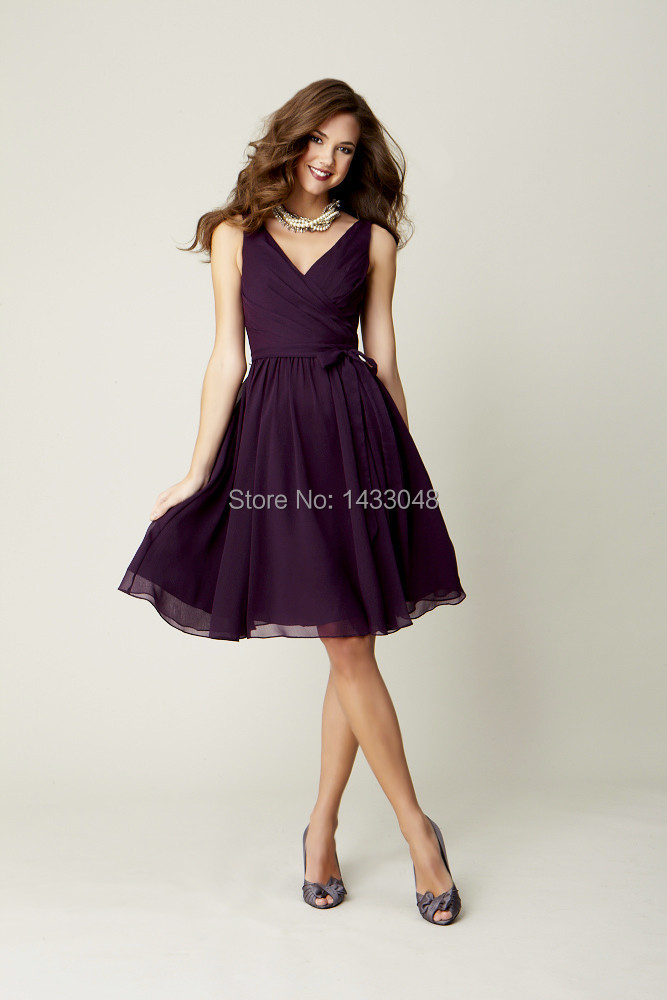 Eggplant v neck sleeveless chiffon knee length bridesmaid for Knee length fitted wedding dresses