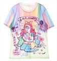 2016 Verano Último diseño Individualidad Mujeres Harajuku style tie dye camisetas Tops de color Crema de Hielo de Dibujos Animados Carta Impreso Camisetas