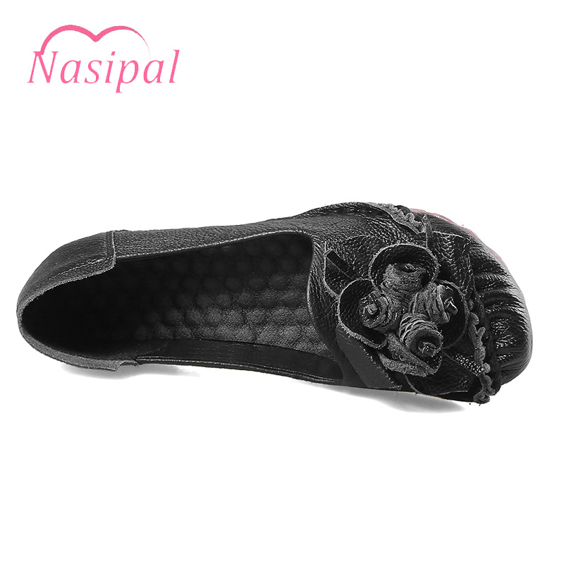 48d18629979 Nasipal Woman Genuine Leather Flat Shoes Fashion Cow Leather Loafers Female  Casual Shoes Women Flats Floral Mom Drive Shoes C419-in Women s Flats from  Shoes ...