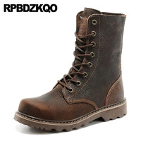 Genuine Leather Shoes Non Slip Ankle Casual 2018 Vintage Lace Up Autumn Military Full Grain Retro Combat Boots Army Men Brown