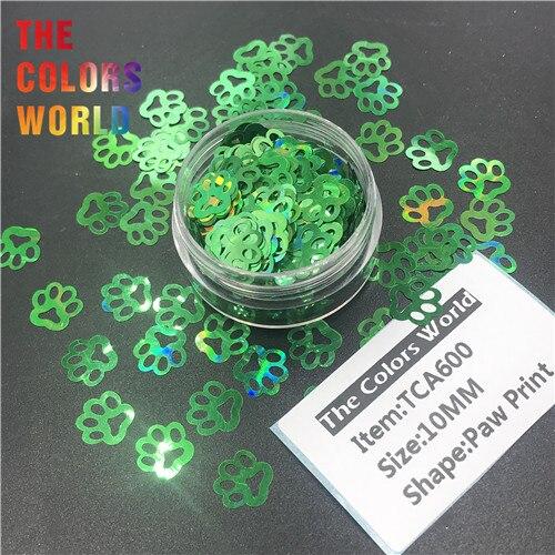 TCT-314 Лапа Печати в форме щенка голографический блестящий для ногтей Дизайн ногтей украшения боди-арт фестиваль стакан ремесло DIY аксессуары - Цвет: TCA600   200g