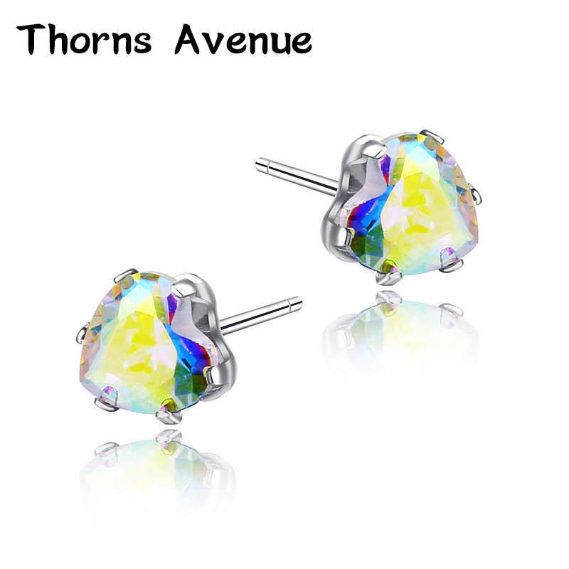 Thorns Avenue Fashion 1 Pair 6mm 13 Colors Heart Shape AAA Cubic Zirconia Stainless Steel Stud