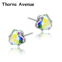 Thorns Avenue Fashion 2PCS/Lot 6mm 13 Colors Heart Shape AAA Cubic Zirconia Bridal Stud Earring Women Wedding Jewelry For Party