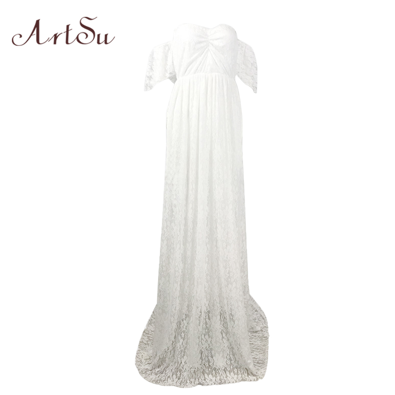 ArtSu Lace Ball Gown Maxi Dress Women White Puff Sleeve Sexy Slash Neck Long Dresses Party Boho Summer Vestidos Longo ASDR30229