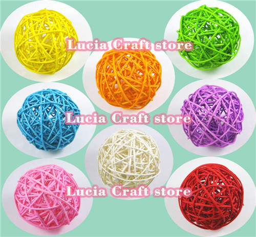 Lucia Crafts SALE! 2pcs/lot 9cm(3.5inch) Multi colors options ornament rattan ball garden, Wedding, Party decorative 024048