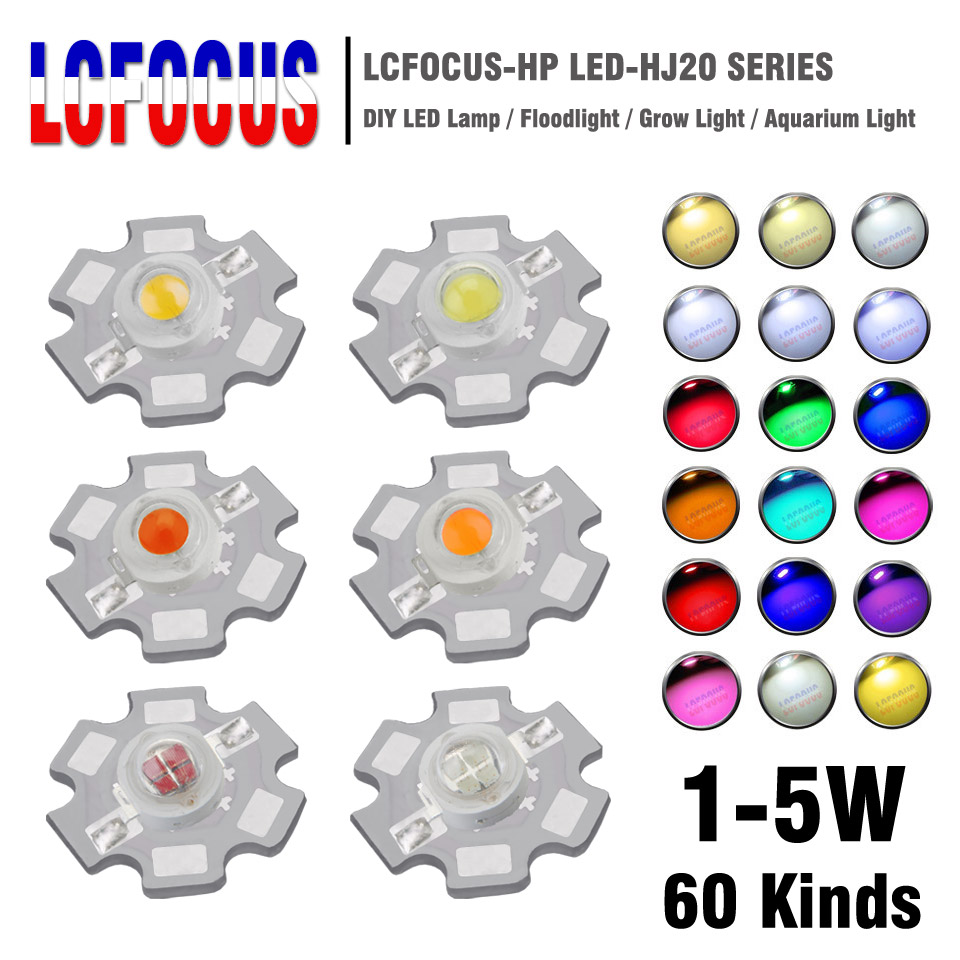 10Pcs 1W 3W 5W High Power LED Chip COB Warm Cool White Red Green Blue Full Spectrum 660nm 440nm Light Beads Grow Aquarium Lamp