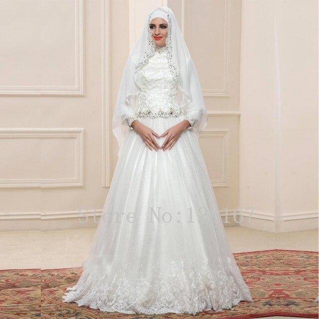 Elegante Bruidsjurken.Lange Mouwen A Lijn Witte Kant Trouwjurken Dubai Arabisch Elegante