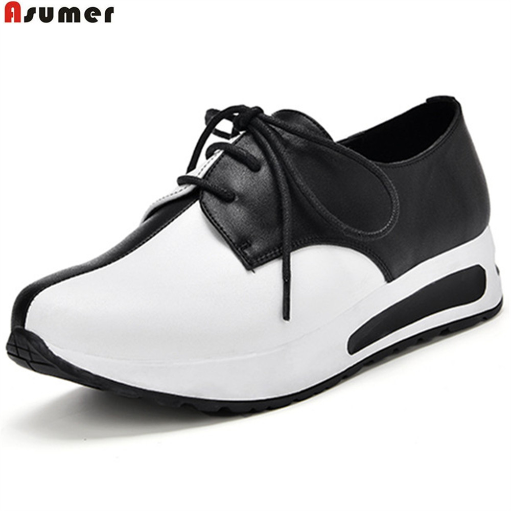 ASUMER 2018 fashion spring auutmn casual shoes round toe lace up mixed colors sneakers comfortable women genuine leather