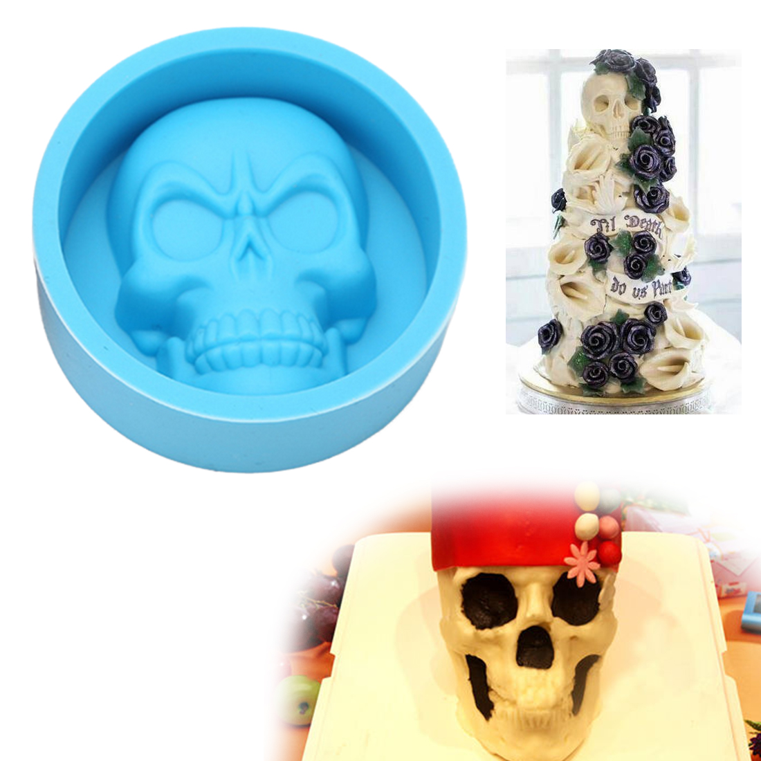 3D Skull Head Silicone Mold Home Party Fondant Cake Chocolate Sugar ...