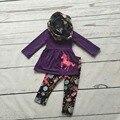 ОСЕНЬЮ НАРЯДЫ привередливый девочки 3 шт. наборы девушки новорожденных девочек единорог одежды детей бутик коричневый топ с единорог брюки