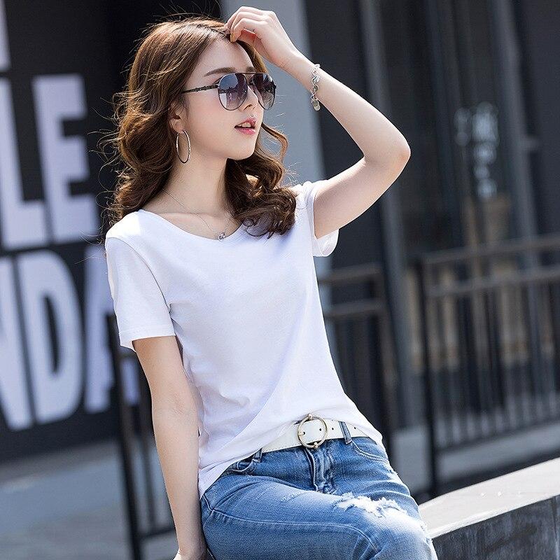 T Shirt Frauen Baumwolle Elastische Grundlegende T-shirt Frau Casual Tops Kurzarm T-shirt HE31