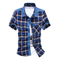 2017 summer new men's shirt short-sleeved plaid shirts men's cotton breathable men's self-cultivation grinding plaid shirt 29cy