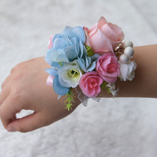 Hand Corsage Flowers Flower Bracelet Bridesmaid For Bridesmaids Prom Bracelets Wrist Pink