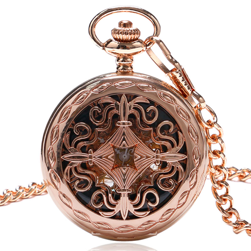 Fashion Clock Rose Gold Hollow Skeleton Mechanical Pocket Watch Hand Wind Fob Watch Antique Gift With Chain Relogio De Bolso