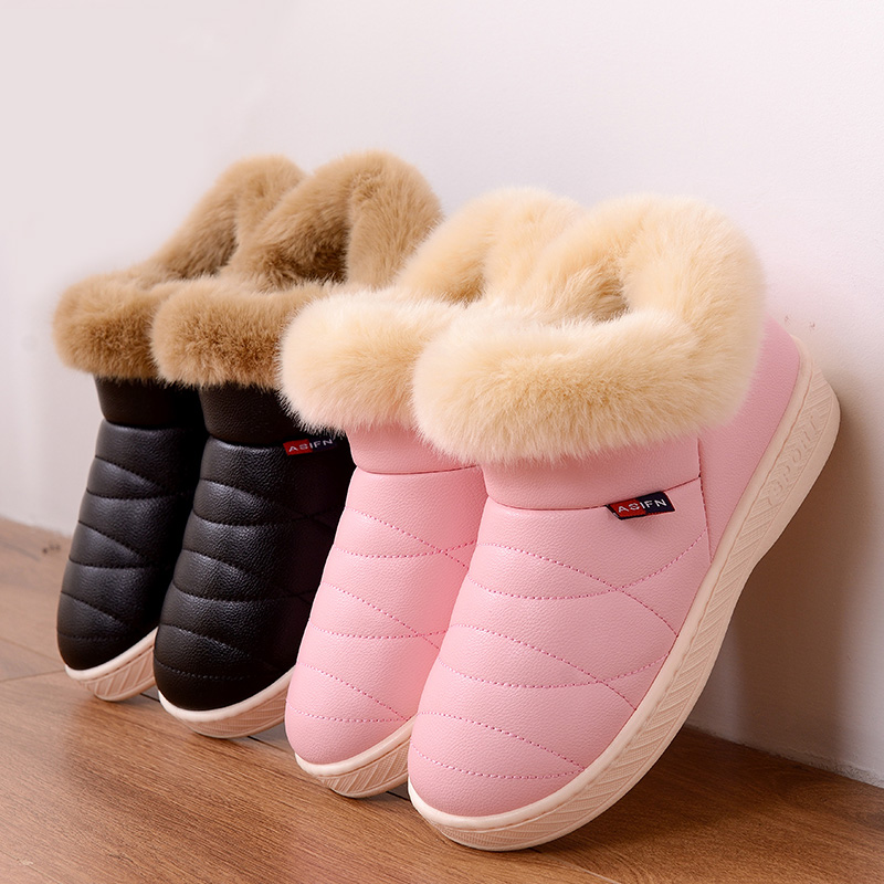 Women Snow Boots Winter Warm Fur Ankle Boots Couple Thick Sole Cotton Shoes Woman Flats Waterproof