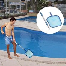 New Lightweight Swimming Pool Net Leaf Rake Mesh Skimmer With Telescopic Pole Pools And Spas Space-saving Cleaning Tool Blue