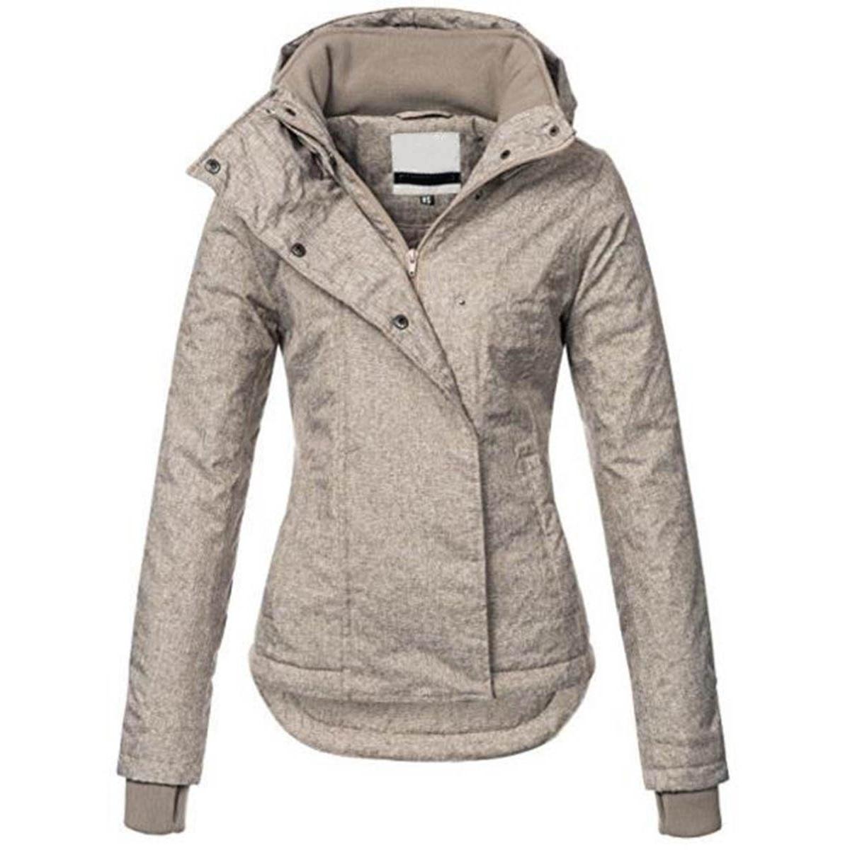 Women Casual Basic Outwear Jacket Plus Size Solid Hooded OverCoat Winter Lapel Slim Bomber Jacket Warm Thick Top Street Jacket