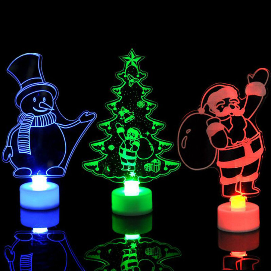 Hot Color Changing Merry Christmas Lightings Snowman Multi Color Led Light Clear Acrylic Christmas Tree Mood Lamp Night A Wide Selection Of Colours And Designs Lights & Lighting