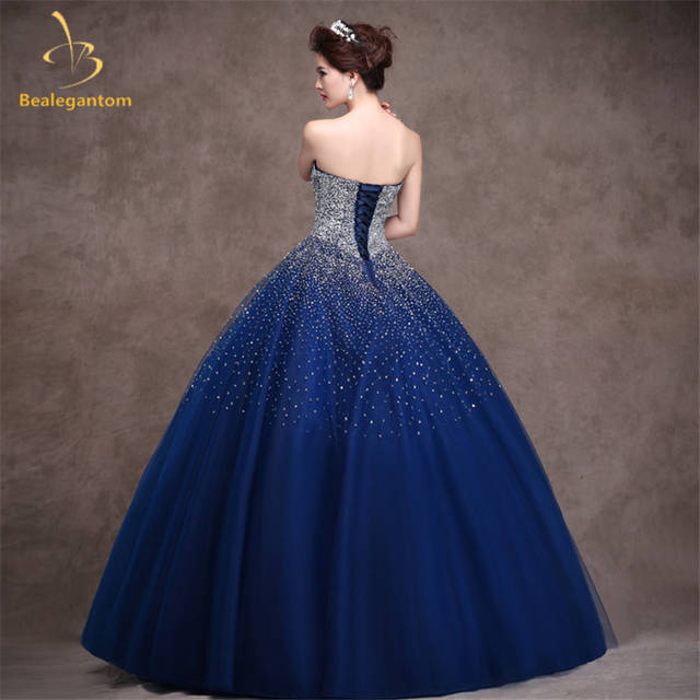 324008b1f9c Bealegantom Royal Blue Quinceanera Dresses Ball Gown 2018 Beaded Crystal  Lace Up Sweet 15 16 Dresses