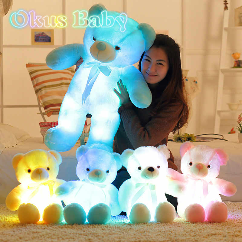 Luminous 30/50/80 Cm Kreatif Light Up LED Teddy Bear Boneka Plush Toy Colorful Bercahaya Teddy beruang Natal Hadiah untuk Anak