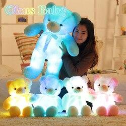 Luminoso 30/50/80cm criativo ilumina acima o presente de natal brilhante colorido do urso de peluche do brinquedo animal enchido do luxuoso do urso de peluche do diodo emissor de luz para o miúdo