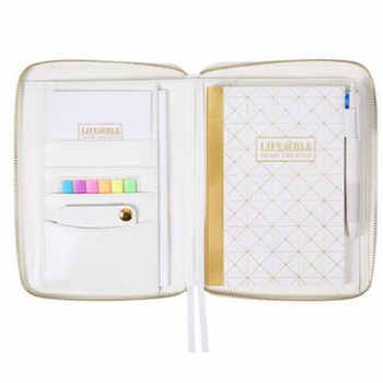 Yiwi Notebook White Gold Stripe Zipper Bag PU Leather Organizer Planner With Calculator or Memo Pads