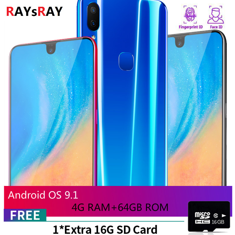 Raysray X23 Smart Phone 4G RAM+64GB ROM 3800mAh Mobile Phone 8MP+3.2MP 4G LTE Cell Phone Dual SIM Cards Face Recognition New