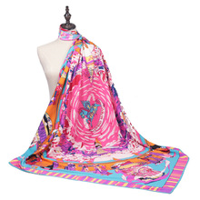 New Arrival Fashion Women soft satin brand scarf / Journey to the West Printed quare twill silk scarves 130cm Gifts Wholesale