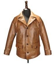Доставка EMS брендовая новая одежда из коровьей кожи, мужские куртки из 100% натуральной кожи, Классическая мужская Тонкая куртка в японском стиле
