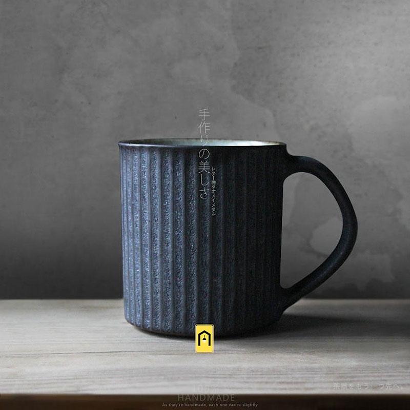 Marque 100% à la main Américain brève style poterie café tasse avec poignée plateau rétro classique en céramique lait thé tasses et tasses