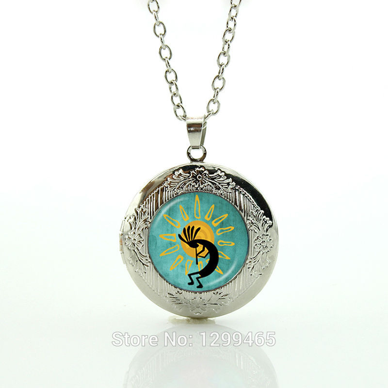 Kokopelli Sun Dance resin pendant,American Southwest jewelry, fertility diety short necklace for women locket pendant N735