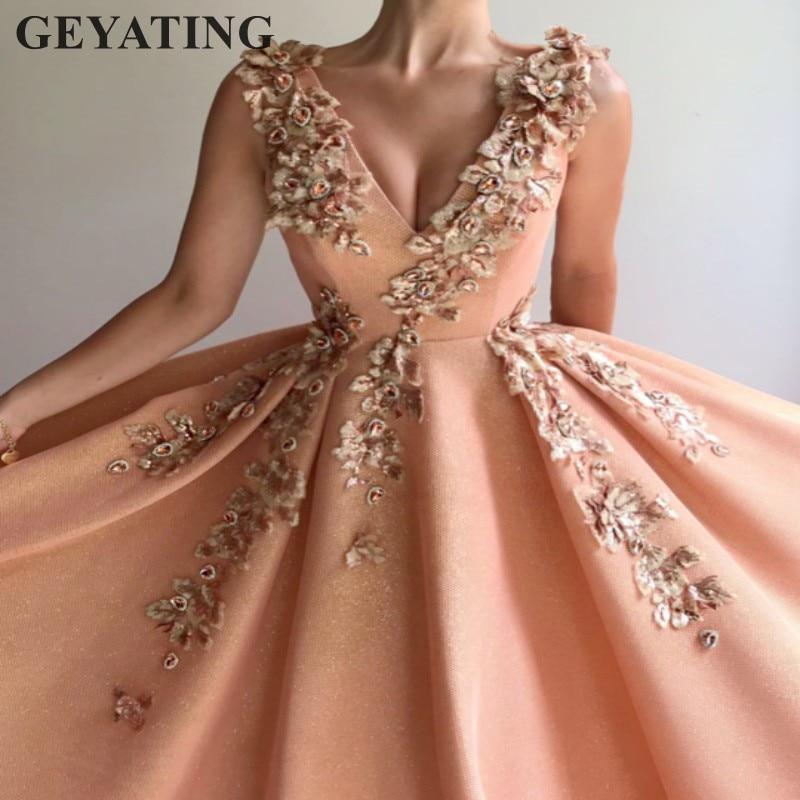 Arabic Peach Long Women Evening Dress 2019 Elegant V-Neck Embroidery Flowers Glitter Formal Party Gowns Prom Dresses in Dubai