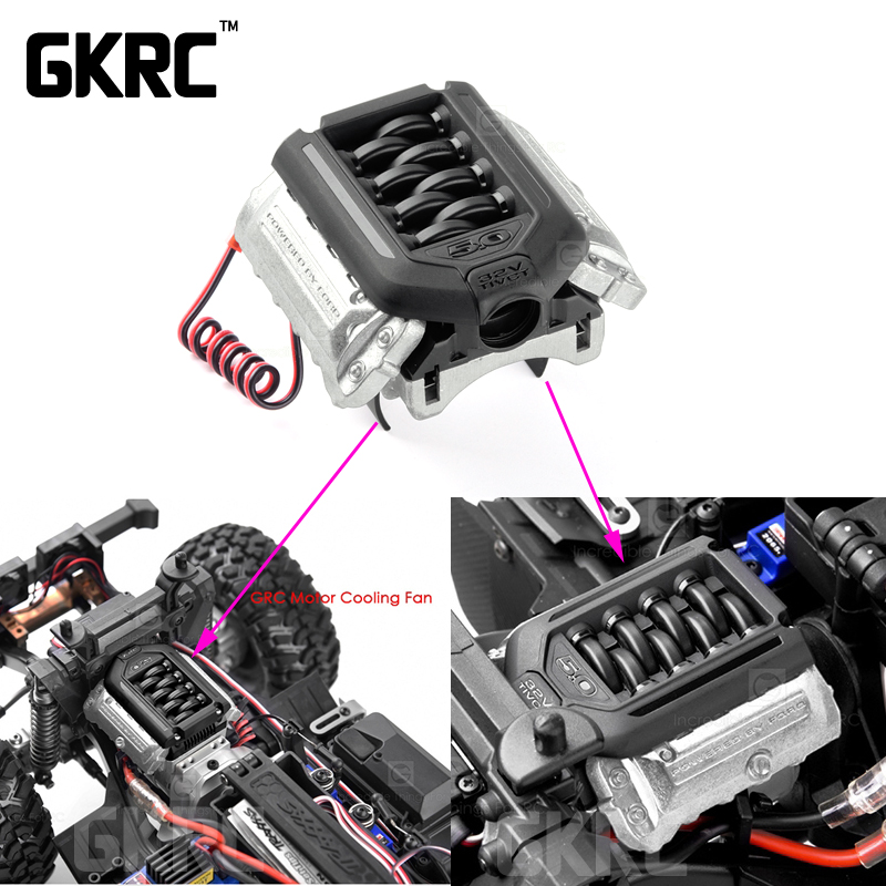 Simular F11 V8 5,0 motor radiador doble ventilador para 1/10 RC Crawler coche Traxxas TRX4 Defender Bronco AXIAL SCX10 RC4WD d90 D110