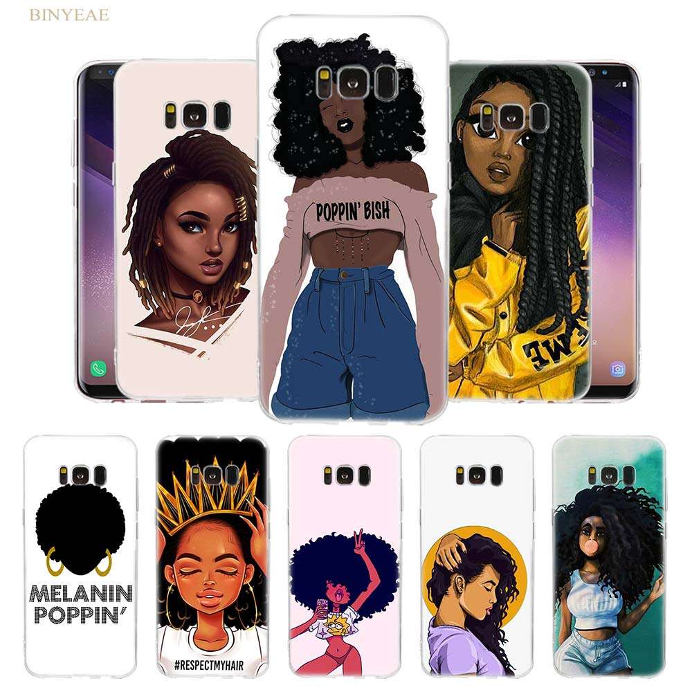 2Bunz Melanin Poppin Aba Phone Case Cover For Samsung Galaxy S10 Lite S9 S8 Plus S7 S6 Edge Note 8 9 Transparent TPU Shell
