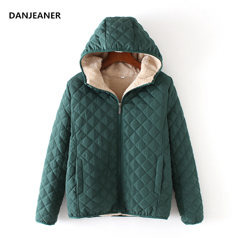 Danjeaner Winter Coat Women Solid Slim Hooded Basic Jackets Female Plus Size Thick Lamb Cotton Jackets Windbreaker Streetwear