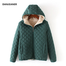 Danjeaner Winter Coat Women Solid Slim Hooded Basic Jackets Female Plu
