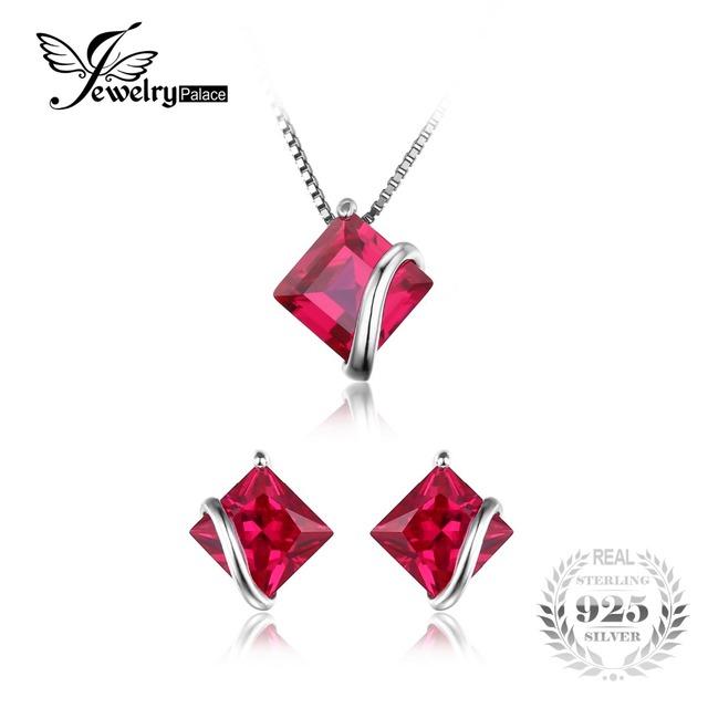Jewelrypalace square classic 6.1ct creado rubí stud pendientes collar colgante de plata de ley 925 de joyería fina para las mujeres