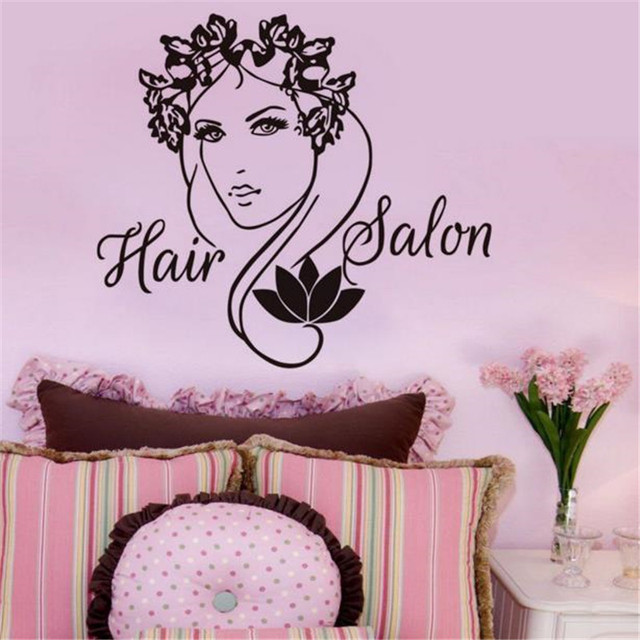 Hair Salon Logo Vinyl Wall Sticker Lady With Flower Wall Decals Home Decor Living  Room Wall Decals